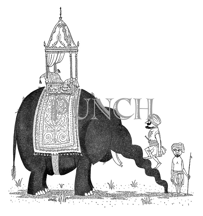 (Rajah climbing onto an elephant using its trunk as stairs)