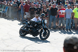 Stunt Riding demo at the Broken Spoke Saloon during Laconia Motorcycle Week. NH, USA. Saturday, June 16, 2018. Photography ©2018 Michael Lichter.