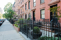 Typical residential street in Chelsea district of Manhattan New York City