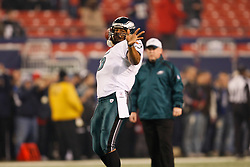 Philadelphia Eagles quarterback Donovan McNabb #5 throws a pass during warm ups before the NFL game between the Philadelphia Eagles and the New York Giants on December 13th 2009. The Eagles won 45-38 at Giants Stadium in East Rutherford, New Jersey. (Photo By Brian Garfinkel)