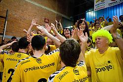 Players of Gorenje celebrate with fans at handball match of MIK 1st Men league between RD Slovan and RK Gorenje Velenje, on May 16, 2009, in Arena Kodeljevo, Ljubljana, Slovenia. Gorenje won 27:26. (Photo by Vid Ponikvar / Sportida)