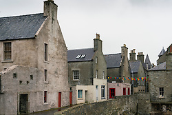 View of old buildings on Commercial Street  in old town of Lerwick, Shetland Isles, Scotland, UK
