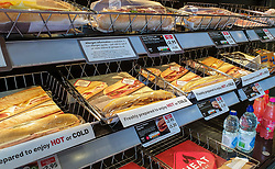 © Licensed to London News Pictures. 05/10/2021. London, UK. Fast food displayed in a branch of Greggs in north London. Greggs, the bakery chain, warns of price increases of sausage rolls, pasties and steak bakes following the coronavirus and supply chain crises. Photo credit: Dinendra Haria/LNP