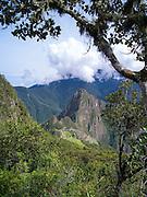 The Incan ruins of Machu Picchu and the small mountain, Huayna Picchu, photographed while climbing Montaña Machu Picchu, near Aguas Calientes, Peru.