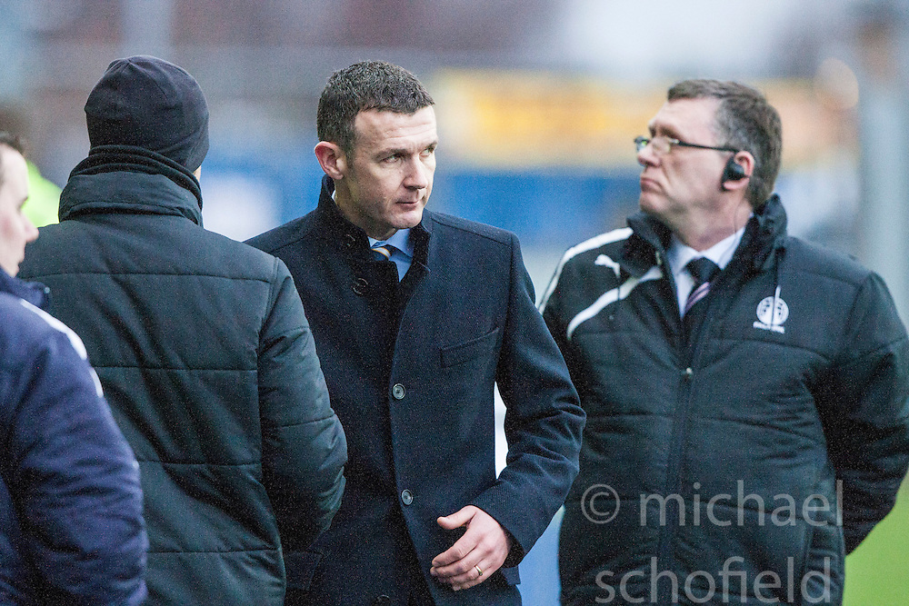 Queen of the South's manager Jim McIntyre at the end of the game.<br /> Falkirk 1 v 0 Queen of the South, Scottish Championship game today at the Falkirk Stadium.<br /> © Michael Schofield.