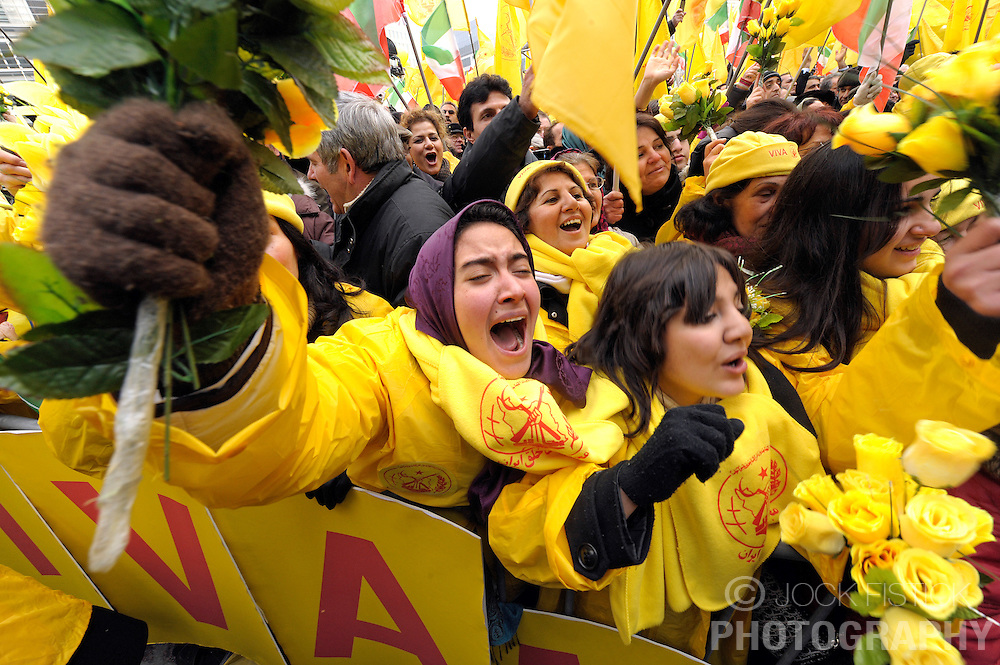 Thousands of Iranians from all over Europe gathered in front of the European Commission to show support for the Iranian resistance movement and to celebrate the removal of the PMOI (People's Mujahideen Organization of Iran) from the EU's  list of terrorist organization, in Brussels, Belgium, Tuesday, Jan. 27, 2009. (Photo / Jock Fistick)