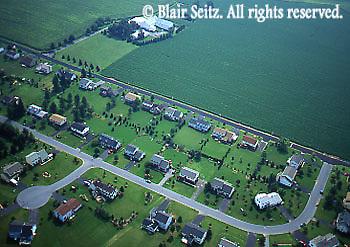 Aerial, Southeast Pennsylvania, farm and suburban housing Aerial Photograph Pennsylvania