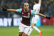 Sofiane Feghouli of West Ham United celebrates after scoring his sides 1st goal. Premier league match, West Ham Utd v West Bromwich Albion at the London Stadium, Queen Elizabeth Olympic Park in London on Saturday 11th February 2017.<br /> pic by John Patrick Fletcher, Andrew Orchard sports photography.