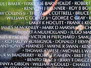 Close-up view of the Viet Nam Memorial, Washington, DC