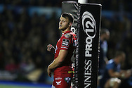 Steffan Hughes of Scarlets looks on. Guinness Pro12 rugby match, Cardiff Blues v Scarlets at the BT Cardiff Arms Park in Cardiff, South Wales on Friday 28th October 2016.<br /> pic by Andrew Orchard, Andrew Orchard sports photography.