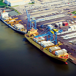 Aerial view of Dole and Chiquita's tanker vessel at the port of wilmington, DE