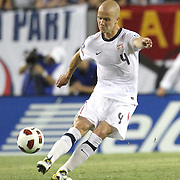 USA midfielder Michael Bradley (4) kicks the ball during a  CONCACAF Gold Cup soccer match between the United States and Panama on Saturday, June 11, 2011, at Raymond James Stadium in Tampa, Fla. (AP Photo/Alex Menendez)