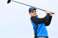 Matt Carson (Royal Belfast) on the 1st tee during Round 2 of the Connacht U16 Boys Amateur Open Championship at Galway Bay Golf Club, Oranmore, Galway on Wednesday 17th April 2019.<br /> Picture:  Thos Caffrey / www.golffile.ie