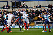 Oliver Hawkins of Portsmouth heads the ball into the penalty area during the EFL Sky Bet League 1 match between Wycombe Wanderers and Portsmouth at Adams Park, High Wycombe, England on 6 April 2019.