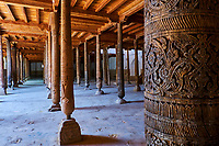Ouzbekistan, Khiva, patrimoine mondial de l'UNESCO, les 218 colonnes de la mosquée Juma // Uzbekistan, Khiva, Unesco World Heritage, 218 pillar of Juma mosque
