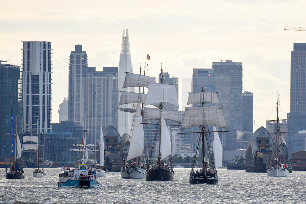 © Licensed to London News Pictures. 16/04/2017. London, UK. More than 30 ships from around the world take part in the Parade of Sail, the culmination of the Royal Greenwich Tall Ships Festival 2017.  Greenwich also marks the start of the Rendez-Vous 2017 Tall Ships Regatta, where these ships will journey to Quebec to mark the 150th anniversary of the Canadian Confederation. Photo credit : Stephen Chung/LNP