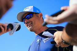 March 1, 2017 - Port Charlotte, Florida, U.S. - WILL VRAGOVIC   |   Times.Tampa Bay Rays manager Kevin Cash (16) talks with reporters before the start of the game between the Philadelphia Phillies the Tampa Bay Rays at Charlotte Sports Park in Port Charlotte, Fla. on Wednesday, March 1, 2017. Cash said that while ''Clubhouse Karaoke'' Wednesday morning was a lot of fun, he did not sing and does not do karaoke. (Credit Image: © Will Vragovic/Tampa Bay Times via ZUMA Wire)