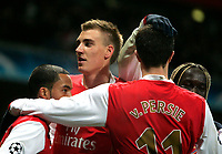 Photo: Tom Dulat/Sportsbeat Images.<br /> <br /> Arsenal v Steaua Bucharest. UEFA Champions League. 12/12/2007.<br /> <br /> Arsenal's Nicklas Bendtner (second left) celebrates his goal for the team and second of the game. Arsenal leads 1-0