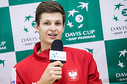 Hubert Hurkacz of Poland  at press conference after  the Day 2 of Davis Cup 2018 Europe/Africa zone Group II between Slovenia and Poland, on February 4, 2018 in Arena Lukna, Maribor, Slovenia. Photo by Vid Ponikvar / Sportida