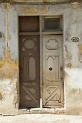 Close up of door on city street, Havana, Cuba