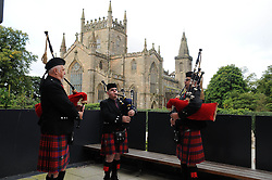 Dunfermline museum opening,Dunfermline, 6-9-2017<br /> <br /> Pipers welcome the guests<br /> <br /> (c) David Wardle | Edinburgh Elite media