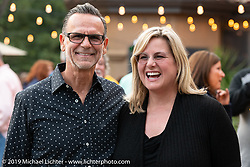 Destination Daytona's Dean Pepe with his wife Shelly Rossmeyer-Pepe at the home of Kim and Jon Borneman after the Arlen Ness Memorial - Celebration of Life. Pleasanton, CA, USA. Saturday, April 27, 2019. Photography ©2019 Michael Lichter.