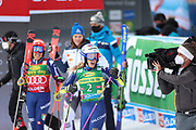 SOELDEN, AUSTRIA. OCTOBER 17 2020:  1st Women's Giant Slalom as part of the Alpine Ski World Cup in Solden on October 17, 2020; Run 2, From left, Federica Brignone (ITA) and Petra Vlhova look at Marta Bassino (ITA) exulting ( Pierre Teyssot/ESPA Images-Image of Sport)