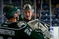 KELOWNA, BC - JANUARY 09:  Max Palaga #31 stands at the bench speaking to Gianni Fairbrother #24 of the Everett Silvertips during warm up against the Kelowna Rockets at Prospera Place on January 9, 2019 in Kelowna, Canada. (Photo by Marissa Baecker/Getty Images)