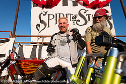 Boardtrack racer Freddie Bollwage shows off his medal from the Spirit of Sturgis races at the fairgrounds during the Sturgis Black Hills Motorcycle Rally. Sturgis, SD, USA. Monday, August 5, 2019. Photography ©2019 Michael Lichter.