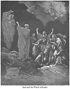Saul and the Witch of Endor 1 Samuel 28:7 From the book 'Bible Gallery' Illustrated by Gustave Dore with Memoir of Dore and Descriptive Letter-press by Talbot W. Chambers D.D. Published by Cassell & Company Limited in London and simultaneously by Mame in Tours, France in 1866