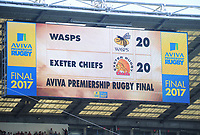 Rugby Union - 2017 Aviva Premiership Final - Exeter Chiefs vs. Wasps<br /> <br /> The scoreboard shows the teams locked at 20 points each at Twickenham.<br /> <br /> COLORSPORT/ANDREW COWIE