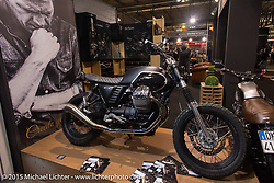 A South Garage Motor Company custom creation on view in their boutique like display at EICMA, the largest international motorcycle exhibition in the world. Milan, Italy. November 19, 2015.  Photography ©2015 Michael Lichter.