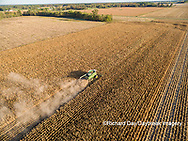 63801-08517 Corn Harvest, John Deere combine harvesting corn - aerial Marion Co. IL