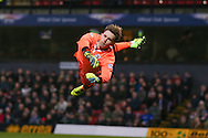 Grimsby Town goalkeeper, on loan from Manchester United, Dean Henderson (29) saves during the EFL Sky Bet League 2 match between Grimsby Town FC and Blackpool at Blundell Park, Grimsby, United Kingdom on 31 December 2016. Photo by Simon Davies.