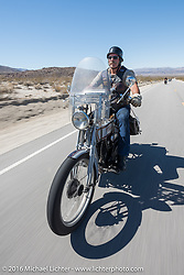 Rowdy Schenck of New Mexico riding his 1915 Harley-Davidson during the Motorcycle Cannonball Race of the Century. Stage-14 ride from Lake Havasu CIty, AZ to Palm Desert, CA. USA. Saturday September 24, 2016. Photography ©2016 Michael Lichter.