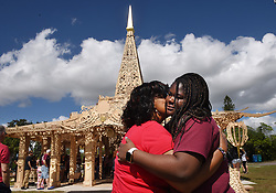 MSD junior Kenya Warner hugs her aunt, Shirleene Warner, as she becomes emotional during their visit to The Temple of Time in Coral Springs, Fla. on Thursday, February 14, 2019. Photo by Taimy Alvarez/Sun Sentinel/TNS/ABACAPRESS.COM