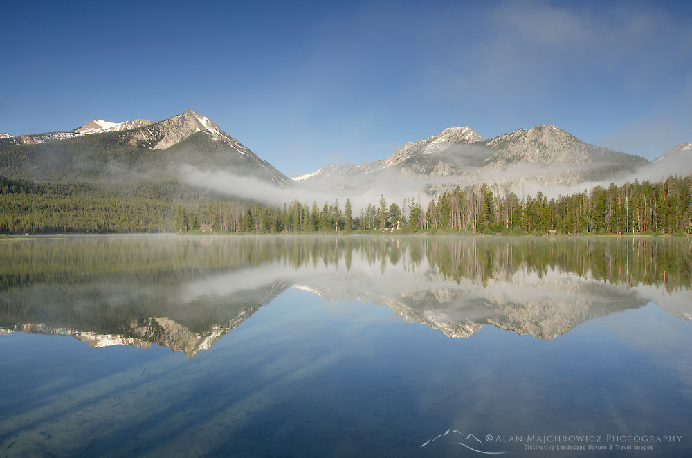 Petit Lake in clearing morning fog, Sawtooth National Recreation Area Idaho