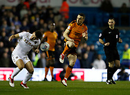 Leeds United midfielder Kalvin Phillips  and Wolverhampton Wanderers midfielder Diogo Jota contest a loose ball during the EFL Sky Bet Championship match between Leeds United and Wolverhampton Wanderers at Elland Road, Leeds, England on 7 March 2018. Picture by Paul Thompson.