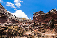 Along the trail to the Nakelele Blowhole (the long way) one encounters an alien landscape reminiscent of a hypothetical acid war zone where rocks are melting.