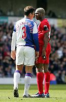 Photo: Paul Thomas.<br />Blackburn Rovers v Liverpool. The Barclays Premiership. 16/04/2006.<br /><br />Blackburn's Zurab Khizanishvili and Liverpool's Djibril Cisse have words.