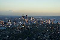 Seattle Skyline, Queen Anne Hill & Mount Rainier