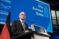 09 NOV 2018, BERLIN/GERMANY:<br /> Norbert Lammert, CDU, Vorsitzender der KAS, haelt eine kurze REde vor der Europa-Rede, einer jaehrlich wiederkehrende Stellungnahme der hoechsten Repraesentanten der Europaeischen Union zur Idee und zur Lage Europas, organisiert von der Konrad-Adenauer-Stiftung, der Stiftung Zukunft Berlin, der Schwarzkopf Stiftung Junges Europa sowie der Stiftung Mercator, Allianz Forum<br /> IMAGE: 20181109-01-045