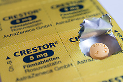 Foil blister packet for Crestor branded statins cholesterol reducing pills.