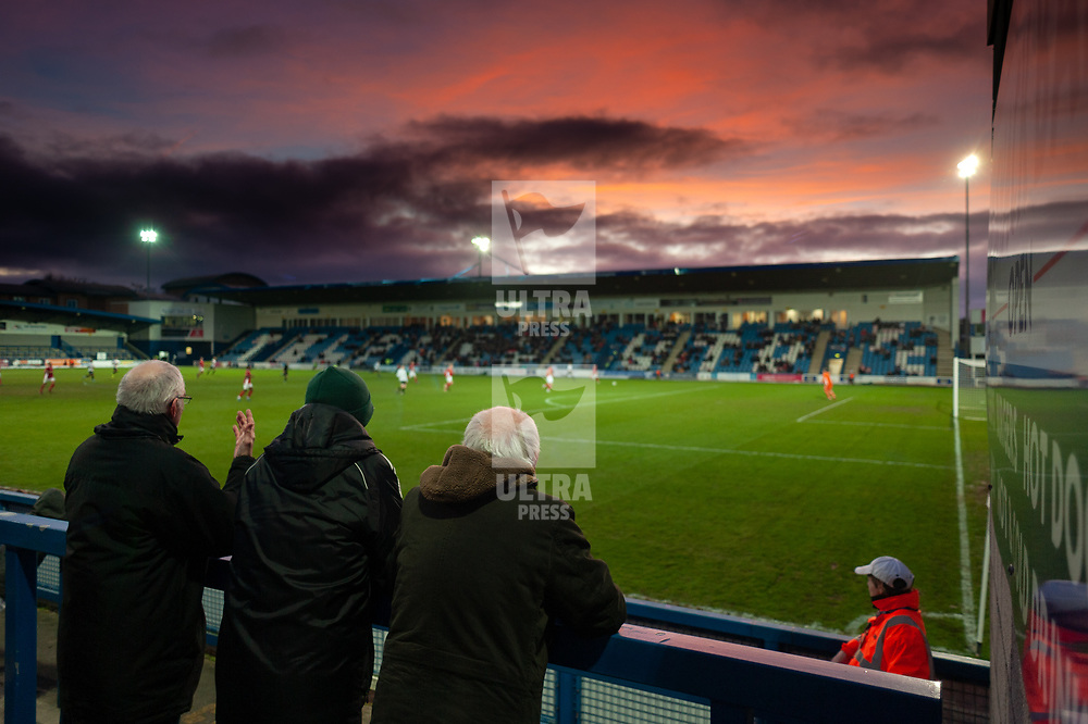 TELFORD COPYRIGHT MIKE SHERIDAN A general view of the New Bucks Head at sunset during the Vanarama Conference North fixture between AFC Telford United and Brackley Town at the New Bucks Head on Saturday, January 4, 2020.<br />