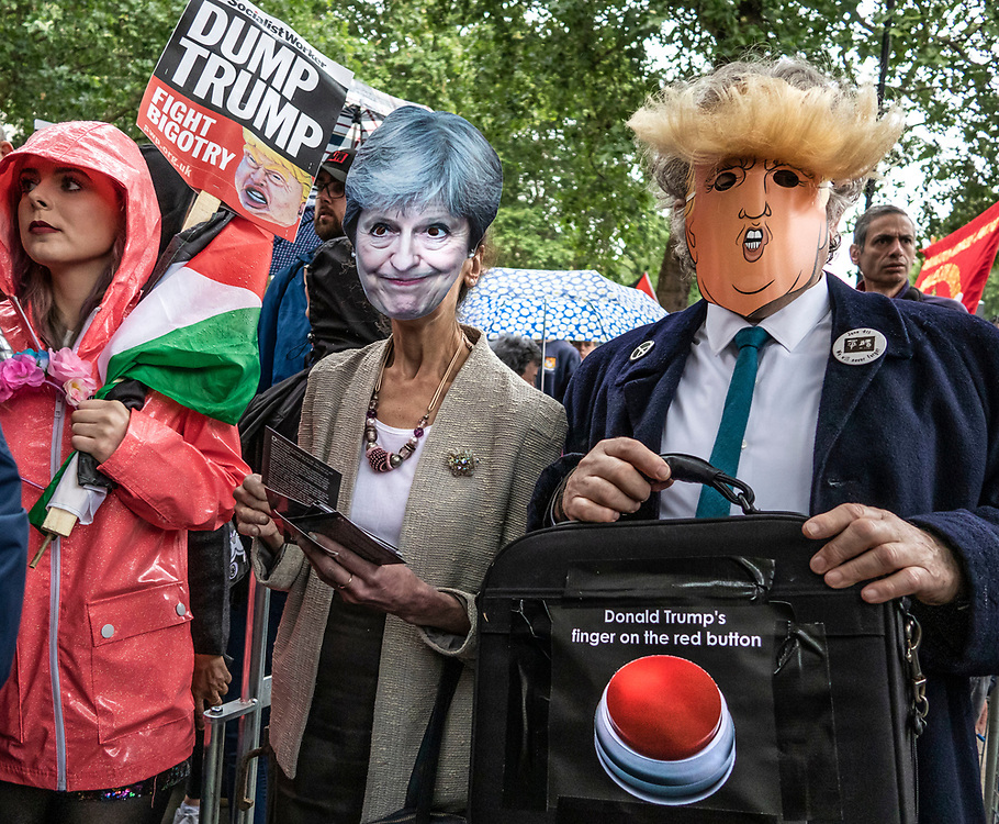 London, UK. 4th June, 2019. Thousands protest in Central London against US President Donald Trumps State visit to the UK