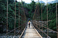 Suspension bridge in the valley between Nghia Lo and Tram Tau, Yen Bai Province, Vietnam, Southeast Asia