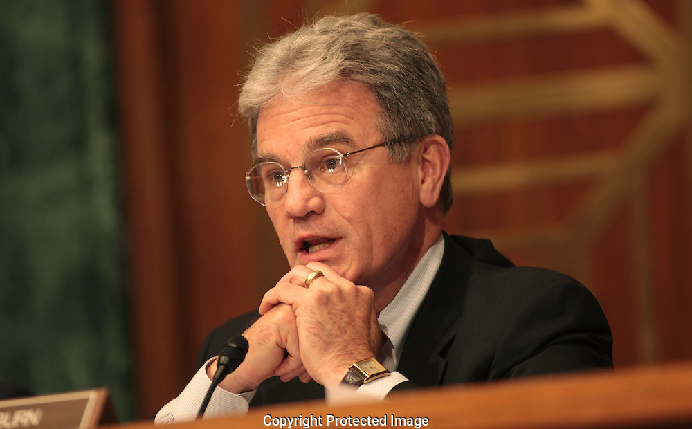 Senator Tom Coburn, R OK. asks a question at a hearing on Goldman Sachs at the Senate Homeland Security and Government Affiars Committee.  Photograph by Dennis Brack