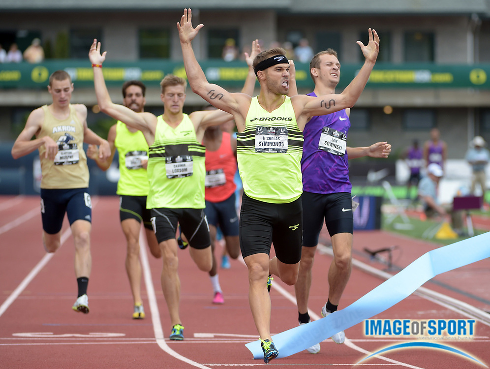 Jun 28, 2015; Eugene, OR, USA; Nick Symmonds celebrates after winning the 800m in 1:44.53 in the 2015 USA Championships at  Hayward Field.
