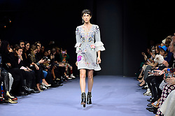 © Licensed to London News Pictures. 21/02/2016. Model on the catwalk at the Temperley show at the London Fashion Week Autumn/Winter 2016 show. Models, buyers, celebrities and the stylish descend upon London Fashion Week for the Autumn/Winters 2016 clothes collection shows. London, UK. Photo credit: Ray Tang/LNP