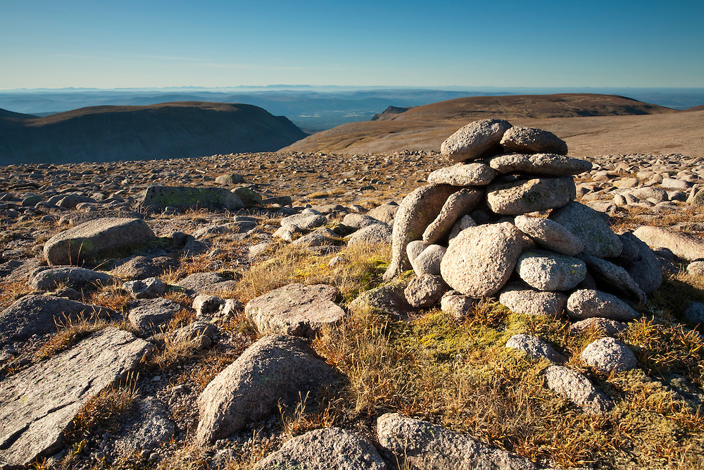 View from the top of Ben Macdui looking north towards Cairn Lochan and Lairig Ghru, Cairngorm Mountains, Scottish Highlands, Uk